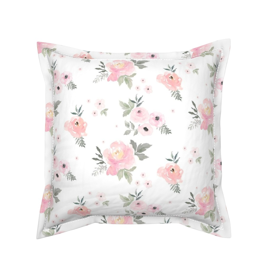 "Serama Throw Pillow featuring 8"" Sweet Blush Roses by shopcabin"