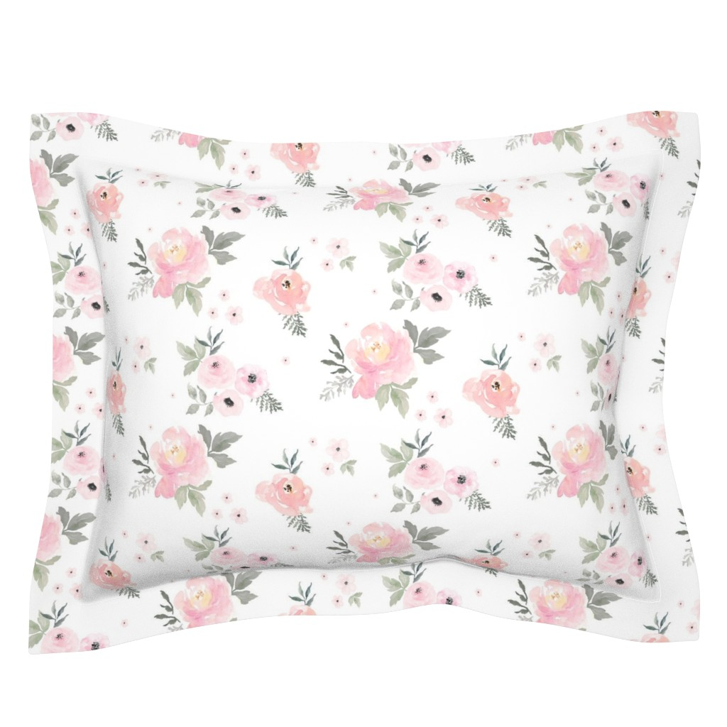 "Sebright Pillow Sham featuring 8"" Sweet Blush Roses by shopcabin"