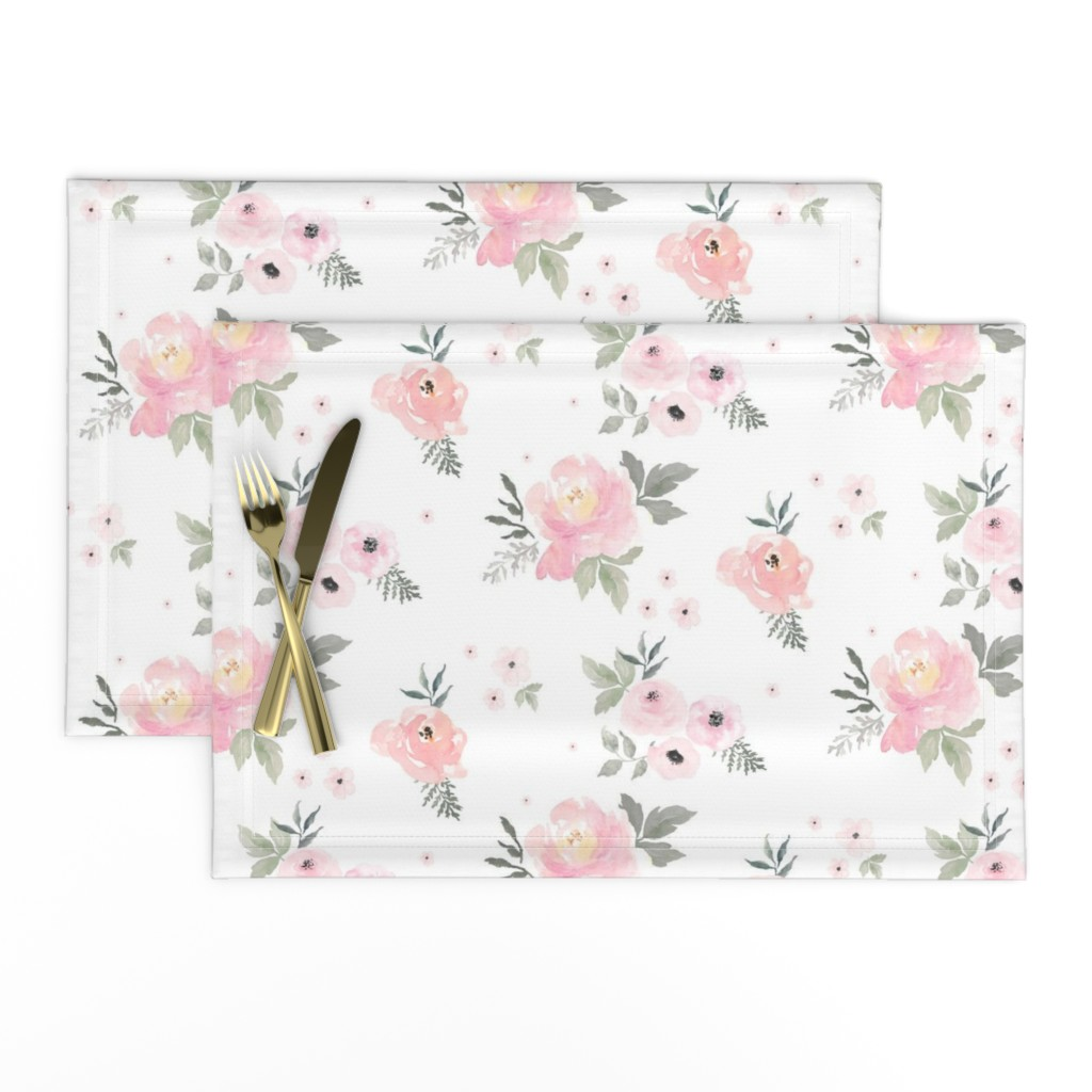 """Lamona Cloth Placemats featuring 8"""" Sweet Blush Roses by shopcabin"""