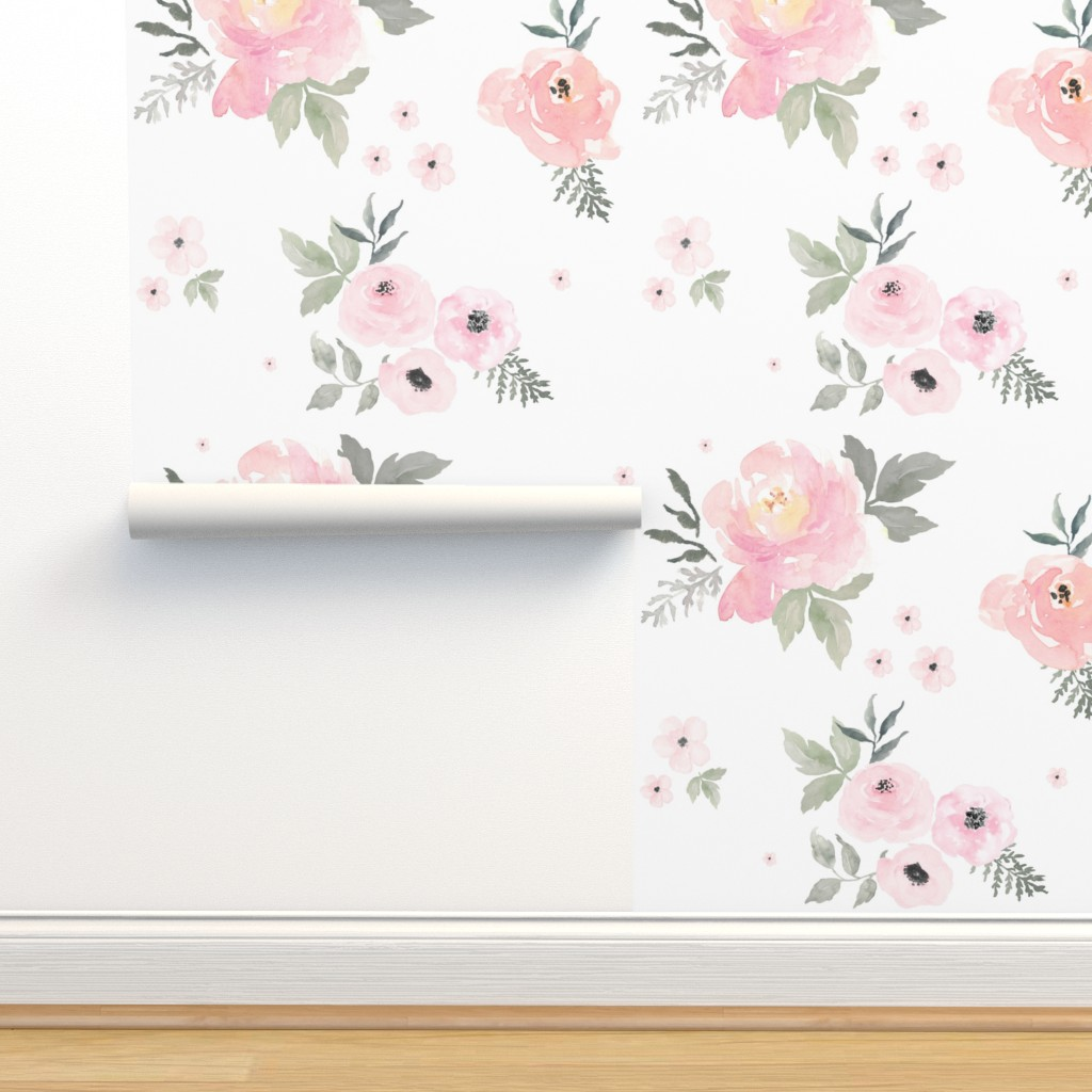 "Isobar Durable Wallpaper featuring 8"" Sweet Blush Roses by shopcabin"