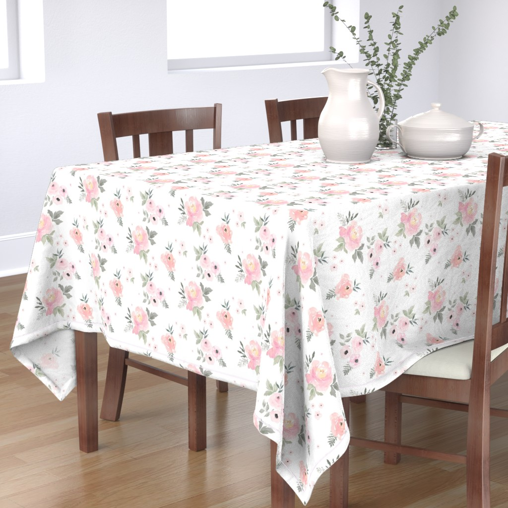 "Bantam Rectangular Tablecloth featuring 8"" Sweet Blush Roses by shopcabin"