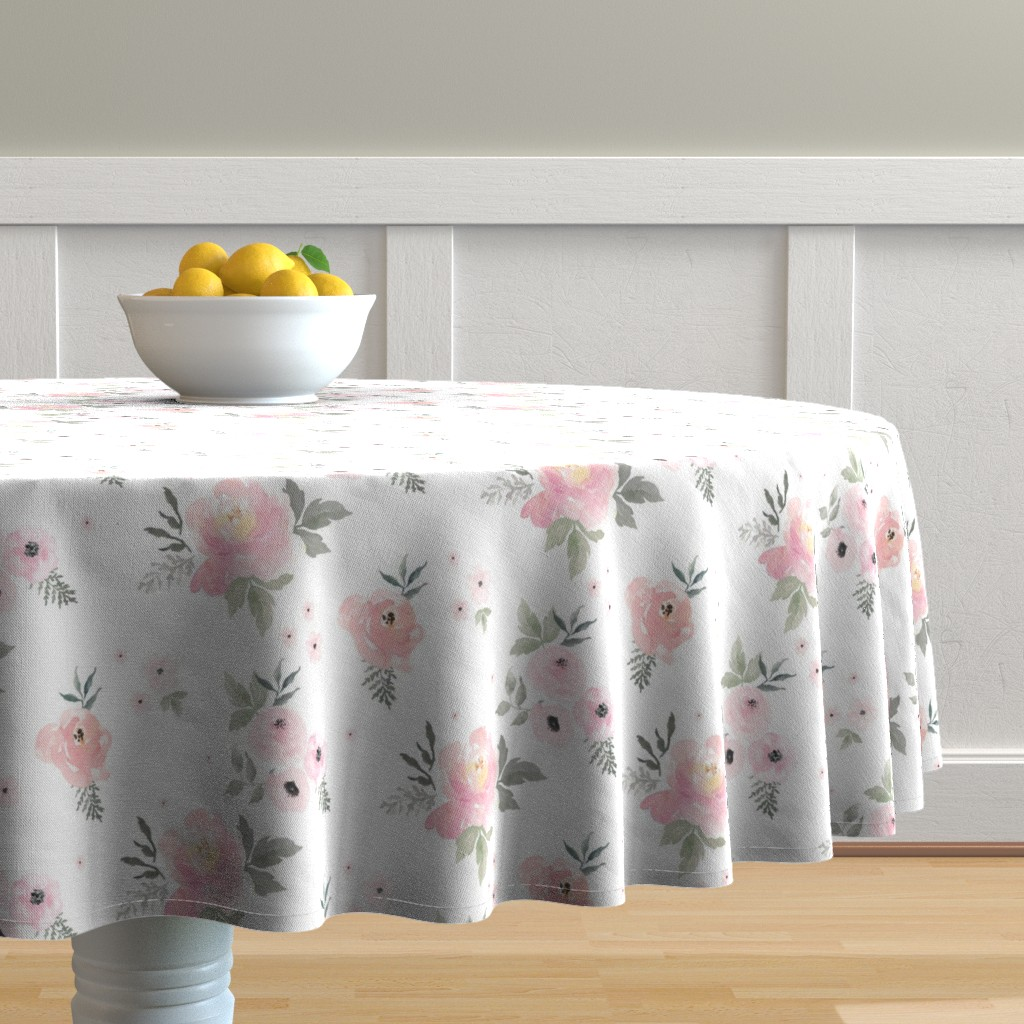 "Malay Round Tablecloth featuring 8"" Sweet Blush Roses by shopcabin"