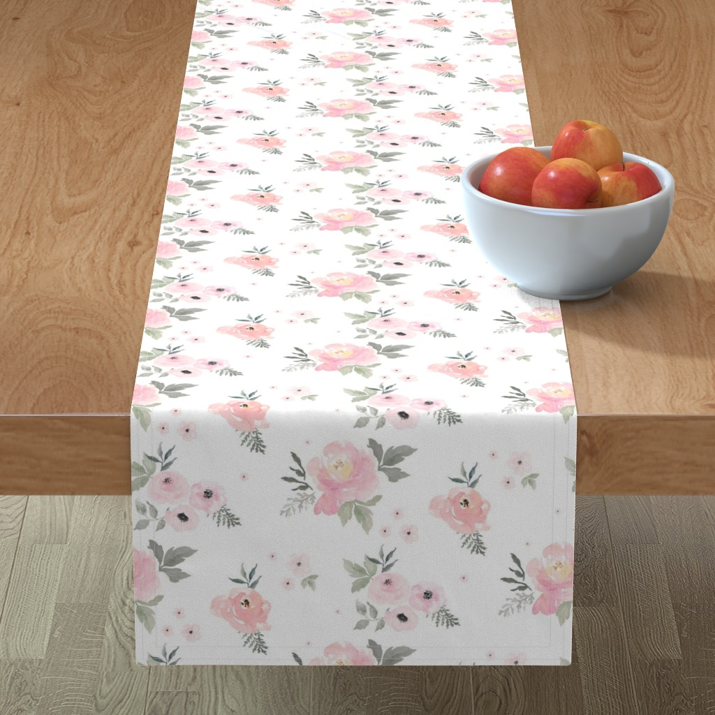 "Minorca Table Runner featuring 8"" Sweet Blush Roses by shopcabin"