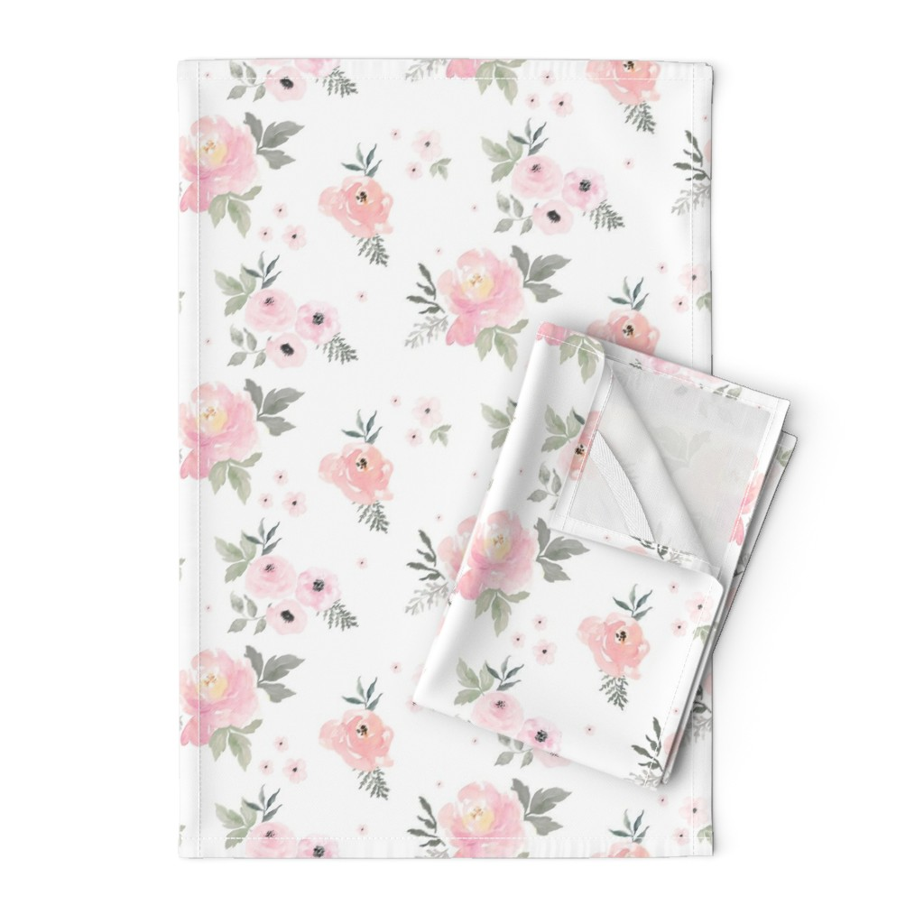 """Orpington Tea Towels featuring 8"""" Sweet Blush Roses by shopcabin"""