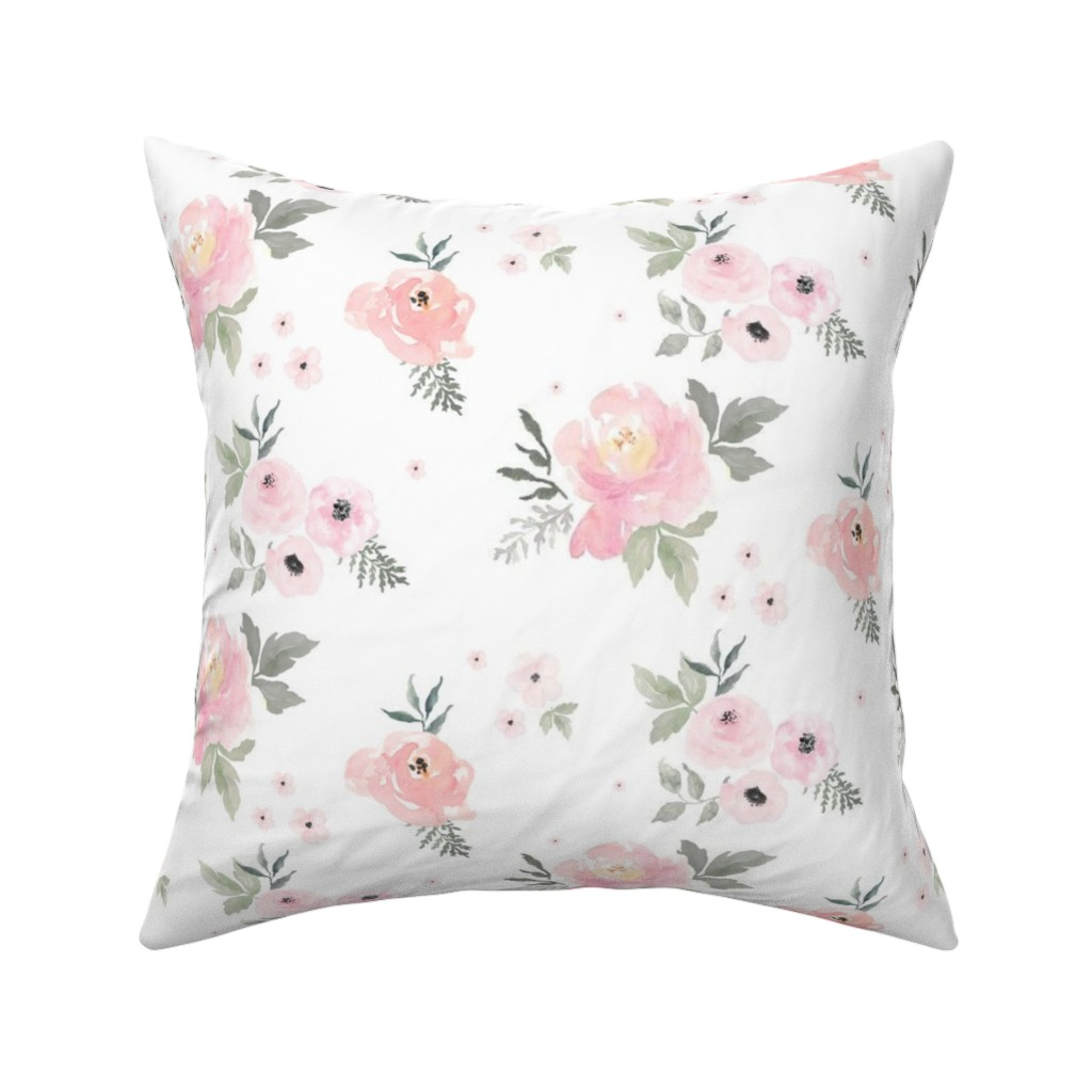 "Catalan Throw Pillow featuring 8"" Sweet Blush Roses by shopcabin"