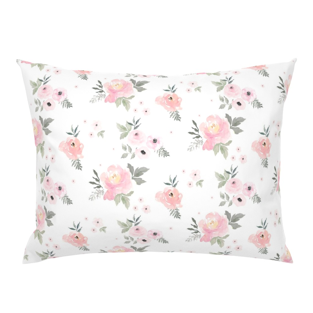"""Campine Pillow Sham featuring 8"""" Sweet Blush Roses by shopcabin"""