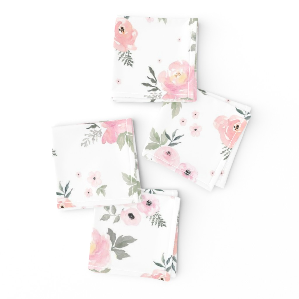 "Frizzle Cocktail Napkins featuring 8"" Sweet Blush Roses by shopcabin"