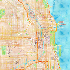 chicago watercolor map design 18x18