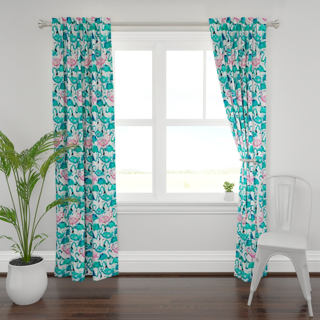 Plymouth Curtain Panel featuring flamingos making a splash in teal! by karismithdesigns