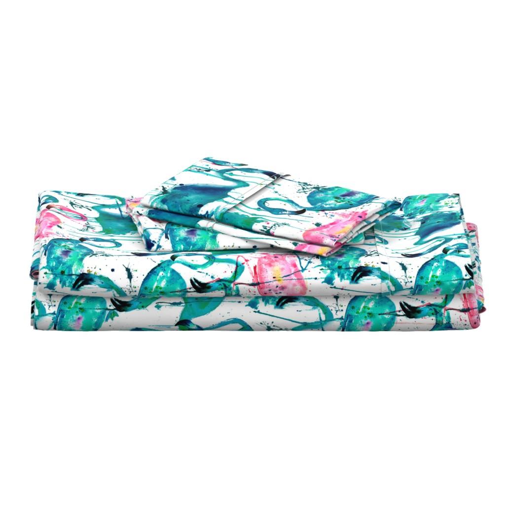 Langshan Full Bed Set featuring flamingos making a splash in teal! by karismithdesigns