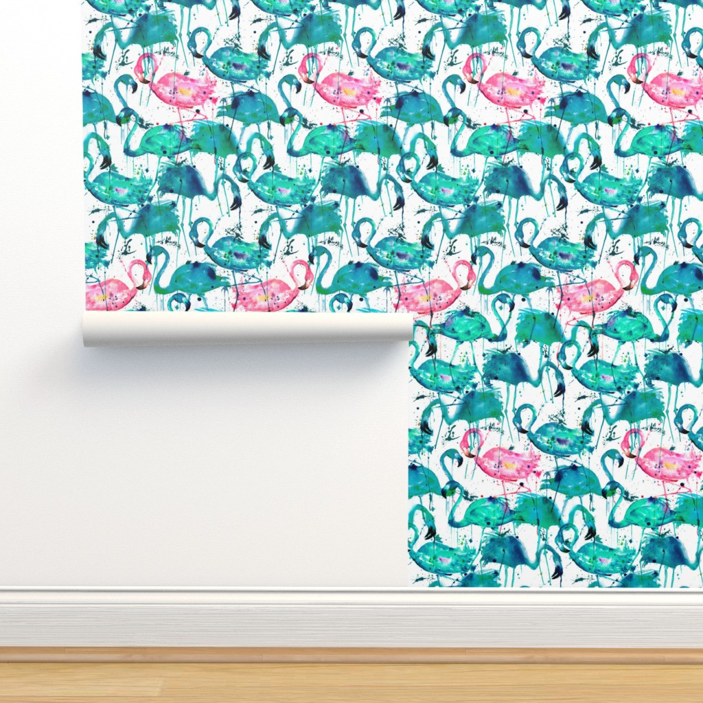Isobar Durable Wallpaper featuring flamingos making a splash in teal! by karismithdesigns