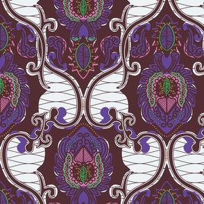 African Wax Print - purple green