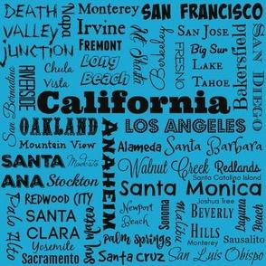 Cities of California, aqua blue