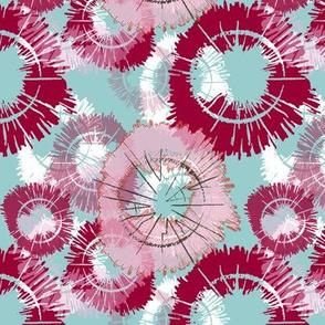 Flower circles - red/blue/pink