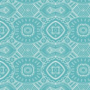 Lace-like Design | White on Teal - horizontal