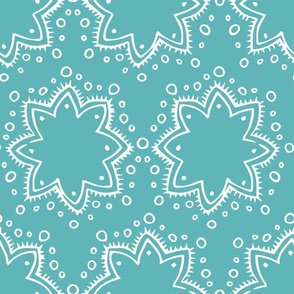 Stars + Dots | White on Teal