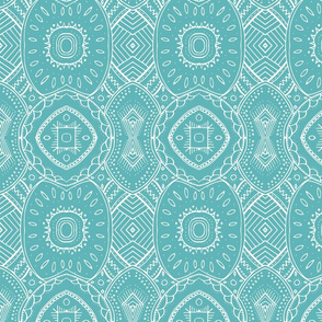 Lace-like Design White on Teal - vertical