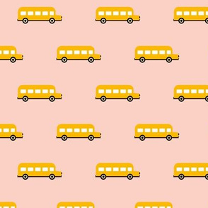 Sweet American school bus design for back to school fabric and fashion for kids