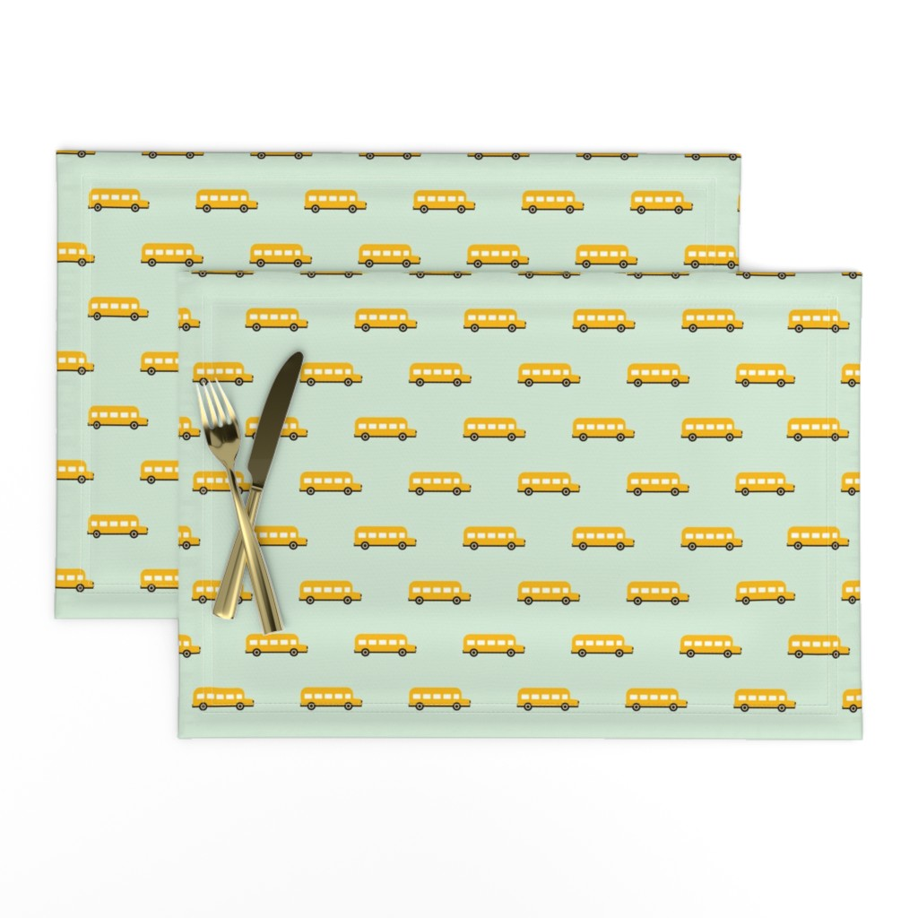 Lamona Cloth Placemats featuring Sweet American school bus design for back to school fabric and fashion for kids by littlesmilemakers