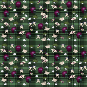 The Underwater Unexpected in dark green plaid