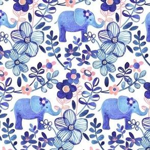 Little Purple Elephant Watercolor Floral on White