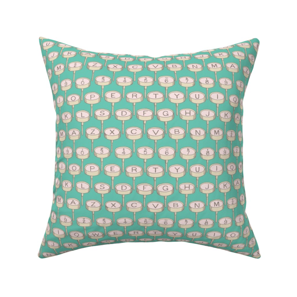 Catalan Throw Pillow featuring Typewriter: Bg Green by mia_valdez