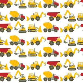 Construction Vehicles on White