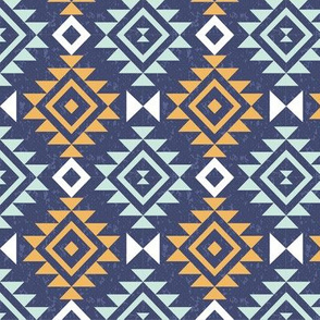 Textured Aztec - Gold and Aqua