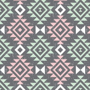 Textured Aztec - Mint and Blossom