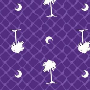 Orange and purple team color_Palmetto_Tree_Print_Purple