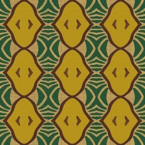 Mid Century Modern Pears and Banana Leaves