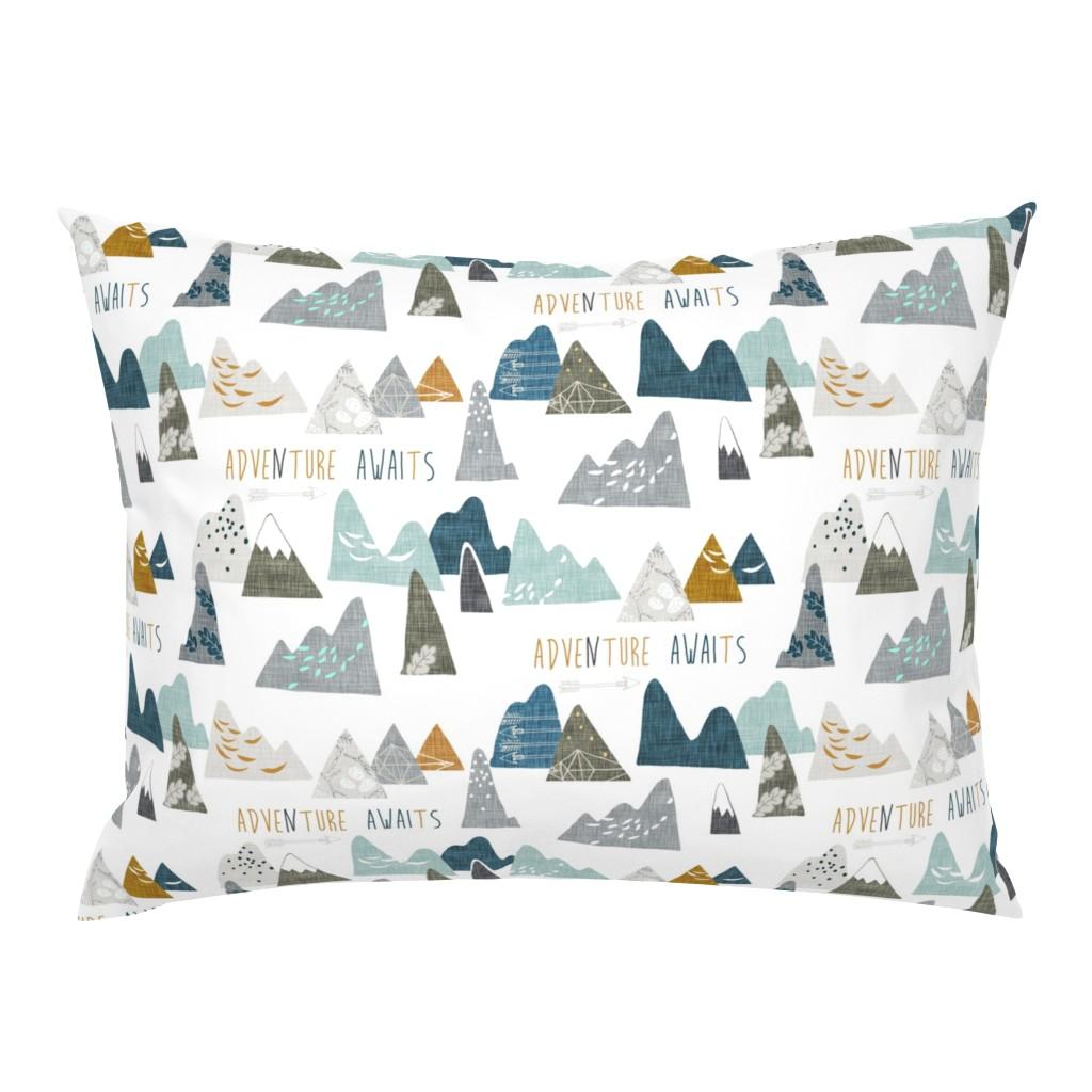Campine Pillow Sham featuring Adventure Awaits REGULAR (white)  by nouveau_bohemian