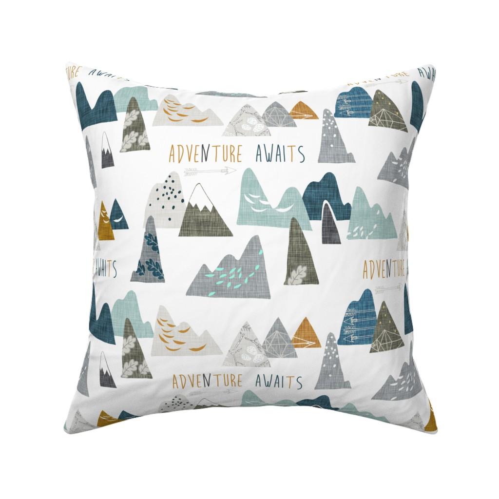 Catalan Throw Pillow featuring Adventure Awaits REGULAR (white)  by nouveau_bohemian