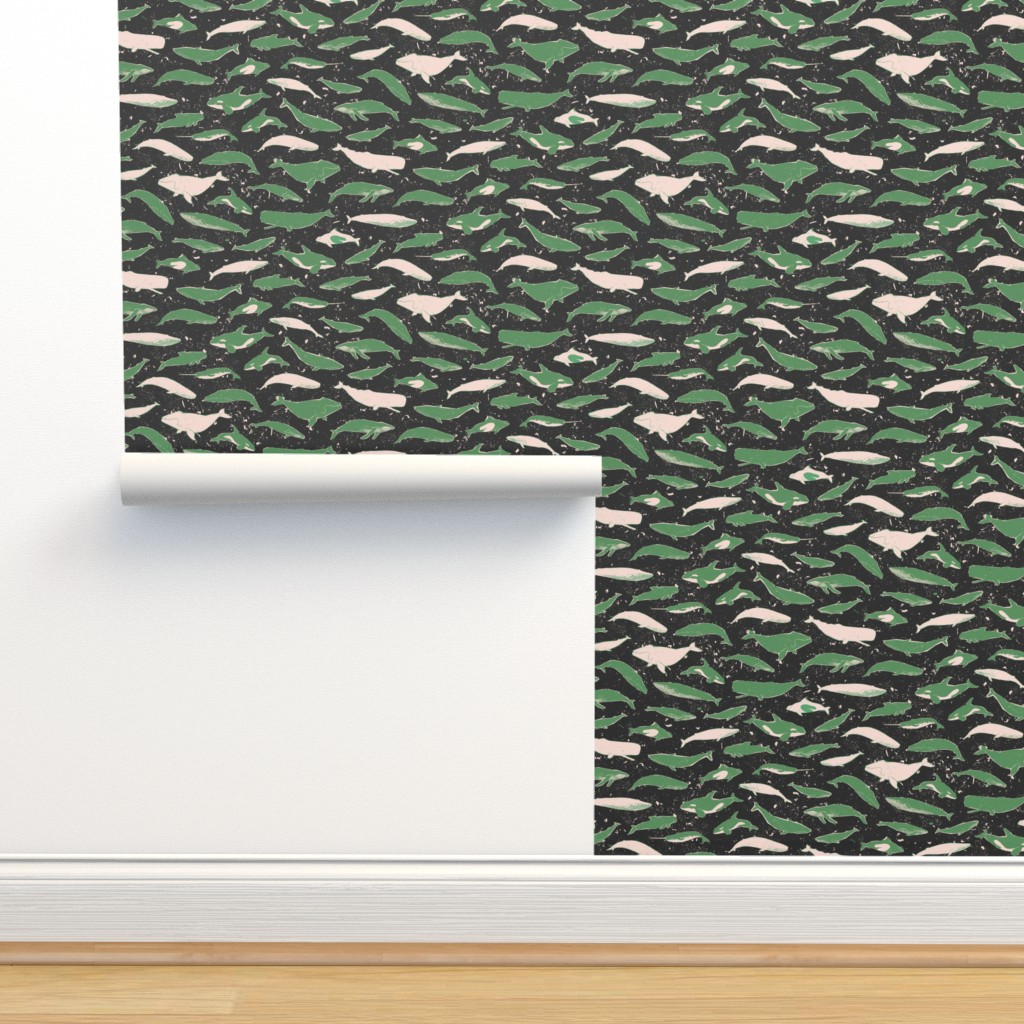 Isobar Durable Wallpaper featuring Whales in the Ocean [green] by danlehman