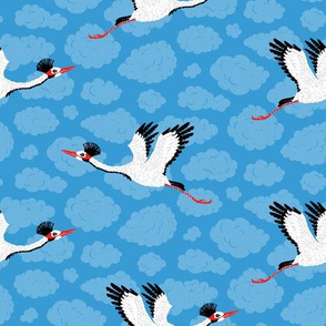 Cranes & Blue Clouds