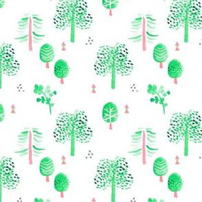 Scandinavian woodland forest fall watercolors illustration trees green