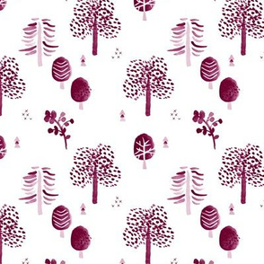 Scandinavian woodland forest fall watercolors illustration trees maroon cherry
