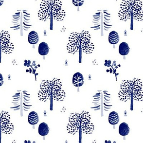 Scandinavian woodland forest fall watercolors illustration trees blue