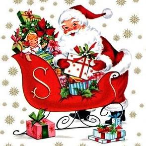 Merry Christmas Santa Claus snowflakes winter sleigh mistletoe wreaths presents gifts dolls toys vintage retro kitsch