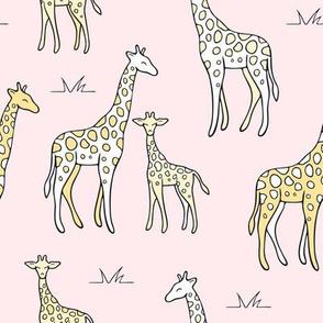 Giraffes on pink