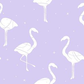 Flamingo Silhouette on purple