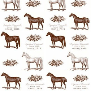 Horses and Roses in Brown