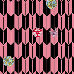 Pink and Black Fletching with Temari