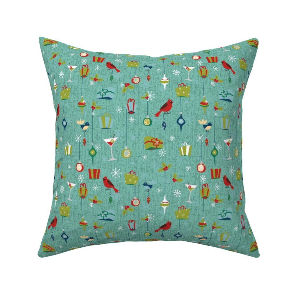 Catalan Throw Pillow featuring Retro Christmas - Teal by electrogiraffe