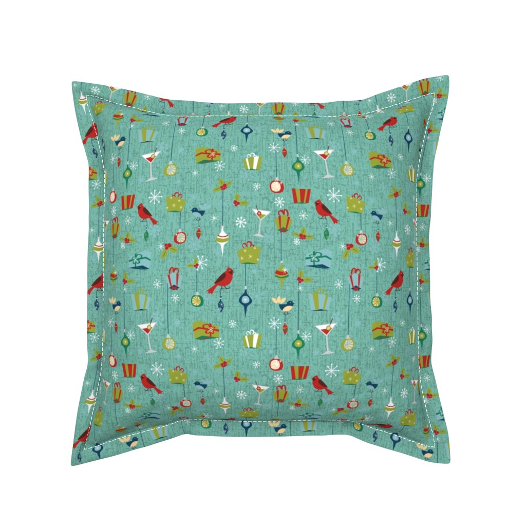 Serama Throw Pillow featuring Retro Christmas - Teal by electrogiraffe