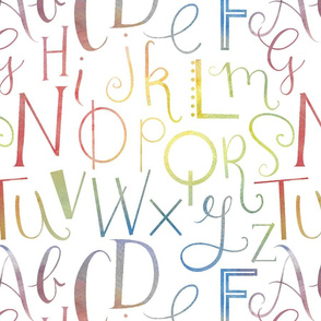 Rainbow Alphabet // Typographic hand lettered print for childrens patterns fabric or giftwrap by Zoe Charlotte
