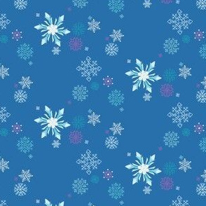 Frozen Snowflakes in Blue // Wintery ice and snow pattern // Modern Christmas print for Giftwrap and Fabric by Zoe Charlotte