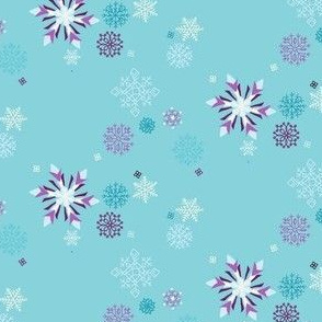 Frozen Snowflakes in Aqua // Wintery ice and snow pattern // Modern Christmas print for Giftwrap and Fabric by Zoe Charlotte
