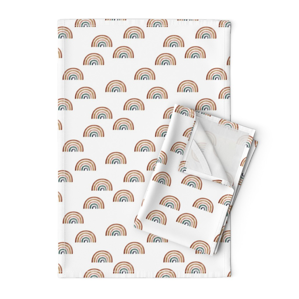 Orpington Tea Towels featuring Scattered Rainbows    Earth toned watercolour rainbows    Rainbow Baby kids bedding by erin__kendal