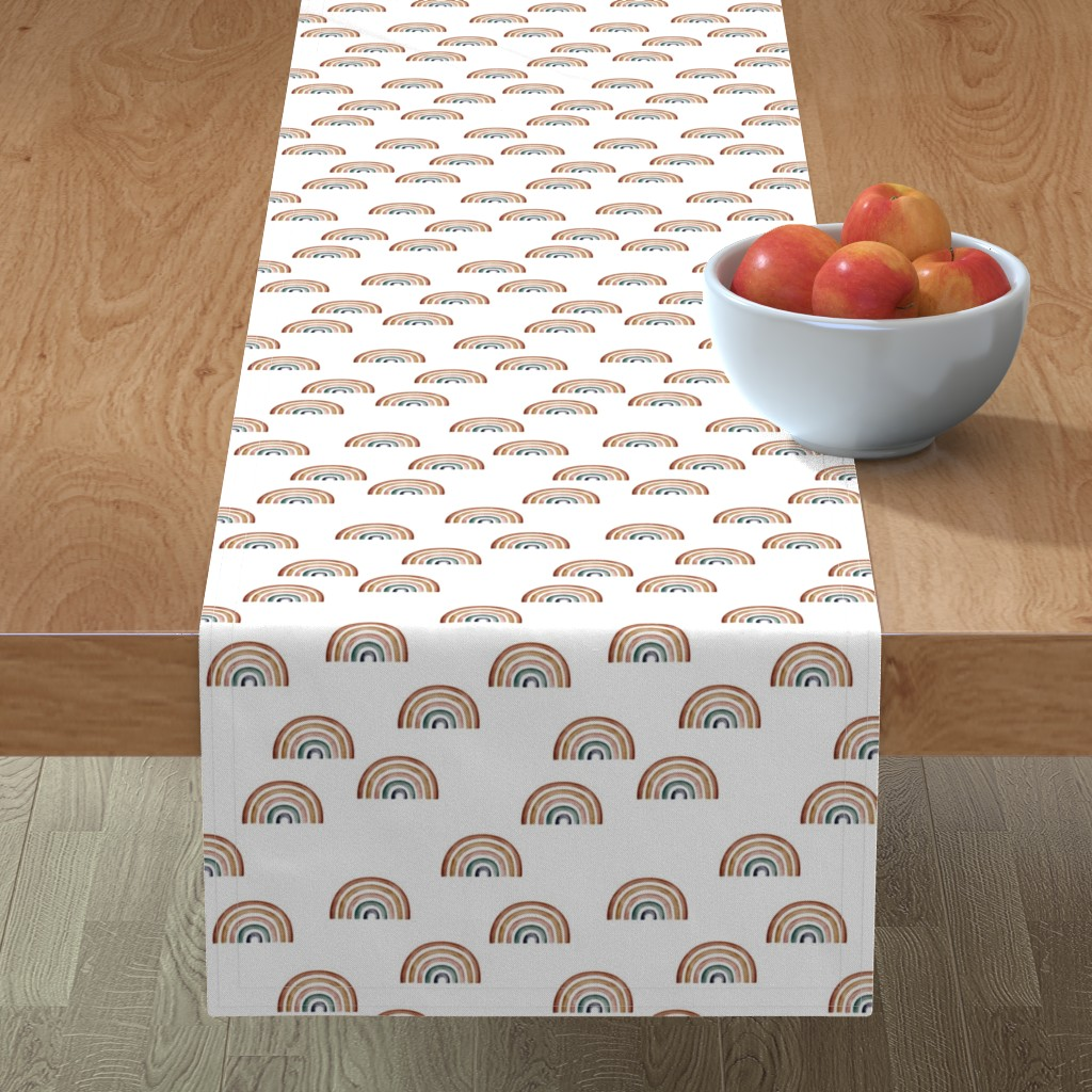 Minorca Table Runner featuring Scattered Rainbows || Earth toned watercolour rainbows || Rainbow Baby kids bedding by erin__kendal